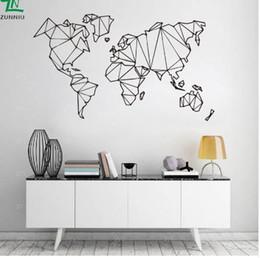 Decalque mural do mapa mundial on-line-Mapa abstrato do Mundo Geografia Adesivos de Parede Sala de estar Quarto Decalques de Parede Removível Vinyl Mural Terra Etiqueta Decoração Da Sua Casa