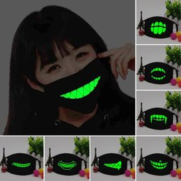 cotton masks Promo Codes - Black Luminous Mouth Mask Light in the dark Anti dust keep warm Cool Unisex Mask Black Teeth Glow Cotton Face Mask