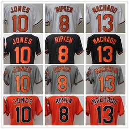 e8f5dccad 2018 Men s Baltimore 13 Manny Machado 8 Cal Ripken 10 Adam Jones Black  White Grey Orange Cool Base Elite Baseball Jerseys Hot Sale adam jones  jersey ...