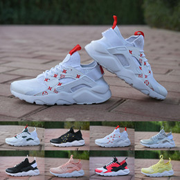 Wholesale Low Cut Canvas Shoes - (With box) 2018 Air huarache IV 4 running Shoes Men Women Black white red Grey High Quality Sneakers Huaraches Jogging Sports Shoes 36-46