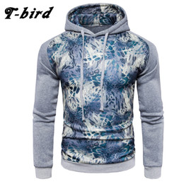 Wholesale Birds Hats - T-bird 2017 New Fashion Hoodies Brand Men Leopard Color Spell Sweatshirt Male Hoody Hip Hop Autumn Winter Hoodie Mens Pullover