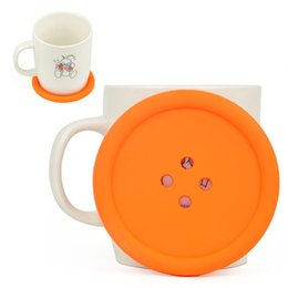 Botón divertido online-Reino Unido gran botón de silicona Coaster divertido novedad diseño Kitsch Retro bebidas mantel