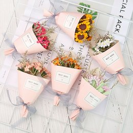 Wholesale Dried Flowers Bouquet - Lovely Mini Dried Flower Sunflower Small Daisy Simulation Flowers Florist Shop Decorative Plastic Bouquet For Valentines Day Gift 5 4mr B