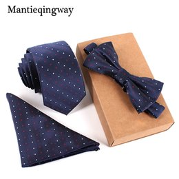 Wholesale branded handkerchiefs - Mantieqingway 6cm Ties Handkerchief Bowtie Set for Mens Brand Necktie for Wedding Marrige Bow Tie Homme Noeud Papillon Corbatas