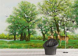 Pittura sfondo scenario online-carta da parati uccelli fiori 3D foresta verde alce uccello sfondo muro dipinto bellissimi sfondi di paesaggio