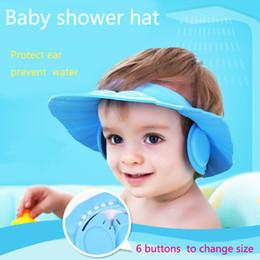 Wholesale Eva Hats - MultiColor Adjustable 6 button EVA Waterproof Eye Shield Shampoo Shower Protector Cap Soft Hat Adjustable Baby Kids Child Children Bathing