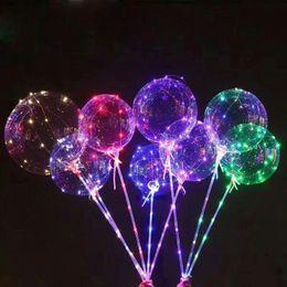 2019 freie liebe blumen rosen Led Licht BOBO Luftballon mit Stab Transparente Luftballons Leuchtende Led Runde Luftballon Blinkende Hochzeitsfeier Dekoration DHL frei