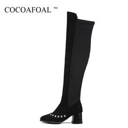 63f9f52432ad98 COCOAFOAL Frauen Spitz Oberschenkelstiefel Winter Frau Hochhackige Schuhe Plus  Größe 33 43 Schwarz Rivet Overknee Stiefel günstig größe 33 heeled stiefel