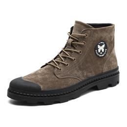 2019 botas de invierno para hombres Brand Men Boots Leather Fashion Lace Up Male Bullock Botas de invierno de cuero de gamuza Cómodo Hombre Casual Estilo Tobillo Nieve Zapatos rebajas botas de invierno para hombres