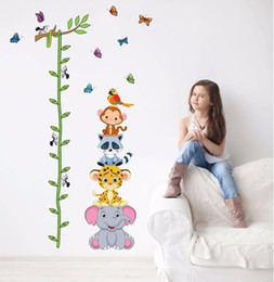 Wholesale Baby Girl Nursery Wall Decals - Cute tiger animals stack height measure wall stickers decal kids adhesive vinyl wallpaper mural baby girl boy room nursery decor