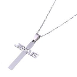 8363a0ad9129 Collar colgante con cruz llana de plata de Jesucristo de acero inoxidable  Joyas religiosas barato colgante plateado de plata