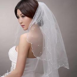 Wholesale 1t Ivory Veil - Top Sale Pencil Edge 1T Bridal Accessories Bridal Veils 150cm White Ivory Short Beaded Wedding Bride Veil 2018