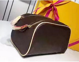 Wholesale Travel Pillow Free Shipping - Free shipping Wholesale designer double zipper women cosmetic bag big travel organizer storage wash bag high quality leather case