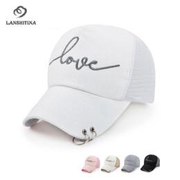 f5c95181570 Love Letter Logo Women Snapback Adjustable 5 Panel Baseball Cap with  Hanging Hoop Fashion Ladies Mesh Peaked Cap Gorras Sunhat