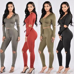 1db2332df0a Women s SLIM Bodycon Jumpsuit Romper Long Sleeve Hooded Crop Tops Jumpsuit  Romper Long Pants 5 Design Plus Size CL135