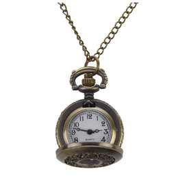 Wholesale Pocket Watch Hunter - Hunter Case Necklace Pocket Watch Bronze Tone For Ladies