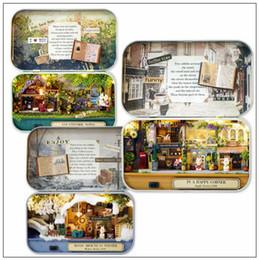 Wholesale Room Box Miniature - 6 Styles Dollhouse Miniature Box Theatre Idea Gift Box Theater Handmade Theme Creative DIY Cute Room Art Handicraft Gifts CCA8485 20pcs