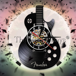 guitar recording Coupons - Acoustic Guitar Vinyl Record Wall Clock Musical Instrument Rock N Roll Decor Wall Watch Guitarist Clock Music Lover Gift