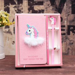 Wholesale hardcover journals - Pink Unicorn Flamingo Cactus Notebook Box Set Diary with Gel Pen Stationery School Supplies Gift for Girls Kids Students WJ016
