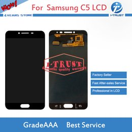 Wholesale Mobile C5 - Mobile Phone Spare Parts For Samsung Galaxy C5 C5000 LCD A+++ Quality Repair Replacement Parts With Free DHL Shipping