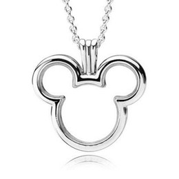 b0567c4e2 New Trendy 100% Real 925 Sterling Silver Micky Floating Locket Charm Fit  Original Pandora Necklace Women Fine Jewelry Party Gift