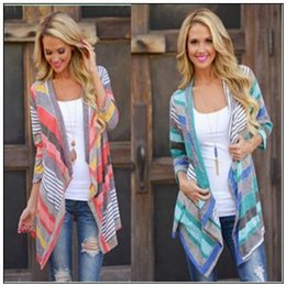Wholesale Vintage Women S Sweaters - Knitted Jacket Striped Cardigans Fashion Outwear Women Vintage Coat Irregular Tops Loose Sweater Casual Blouse Pullover CCA8897 50pcs