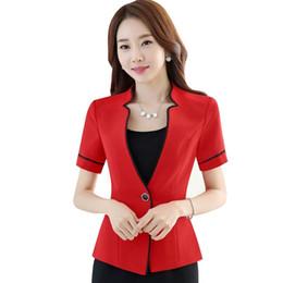 Красные дамские блейзеры онлайн-Новые летние женщины тонкий с коротким рукавом формальные блейзер мода стенд воротник куртки офис дамы плюс размер рабочая одежда красный черный