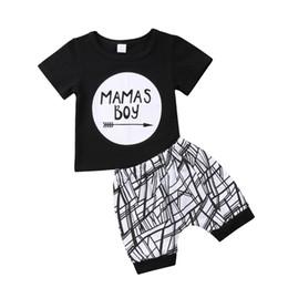 2019 conjuntos de fraldas de fraldas de crochê Verão roupas de bebê Mamas menino preto T-shirt shorts 2-piece set calças geométricas outfit esporte roupa casual roupa crianças menino roupas 0-24M