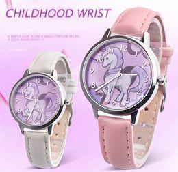 Wholesale Metal Free Watches - Fashion unicorn students watch cute animal kids girls leather brand analog quartz watch kids gifts free shipping