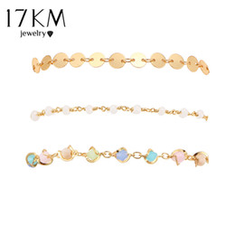 Wholesale Irregular Bangle - whole sale17KM Multicolor Irregular Shape Sequins Bracelets Set For Women New Boho Femme Round Gold Color Crystal Bracelet Chain Jewelry
