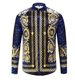 Wholesale royal blue shirts cotton - top quality flower Royal style Mens fashion 100% cotton long sleeve shirt slim