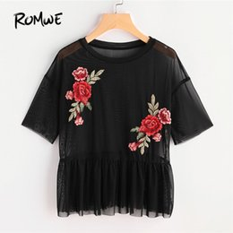 Wholesale Peplum Top Xs - ROMWE Drop Shoulder Flower Patch Tulle Peplum Top 2018 Spring Black Round Neck Short Sleeve Ruffle Embroidery Sheer Women Blouse