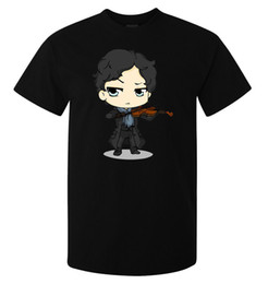 Sherlock Holmes Playing Violin Benedict Cumberbatch maglietta da uomo top nero da