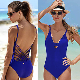 Wholesale Cuts Clothing - 2018 Blue Sexy cut out one piece swimwear swimsuit bathing suit for women hollow out monokini bodysuit woman swim clothing