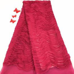 Chiffon francês do laço on-line-Madison Moda Fushia Tecido Chiffon Tulle Bordado Francês Wedding Dress Net Lace Mais Recente Tecido de Renda Africano Para As Mulheres