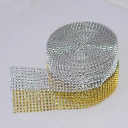 Wholesale silver diamond ribbon - 1 Yard 4cm 8 rows Gold Silver Diamond Mesh Wrap Roll Sparkle Trimming Rhinestone Crystal Cake Ribbon Wedding Party Decorations