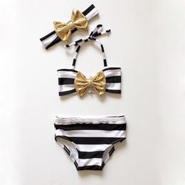 Wholesale swimsuit sequin - 3PCS Cute Sequin Bowknot Striped Swimsuit Summer Children Split Swimsuit Girls Bikini Lovely Bikinis Children Kids Swimwear Girls