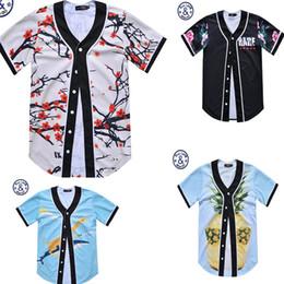 Wholesale shirt 3d shark - New 3d t shirt pineapple shark Plum blossom V neck print tshirt Men's women short sleeve casual t-shirt summer tops tees Fake two pieces