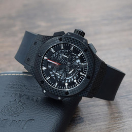 Wholesale fiber tags - Top quality luxury brand new Quartz man watch black sports style F1 racing Stopwatch carbon fiber Rubber strap Hollowed out dia