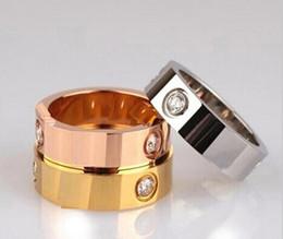Wholesale Titanium aço prata rosa ouro anel de amor anel de ouro para amantes casal anel