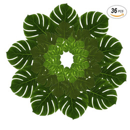 Wholesale Hawaiian Luau Party - 36pcs Artificial Palm Leaves (L M S Size), DIY Waterproof Placemats and Table Runners for Hawaiian Luau Tropical Party Decoration, Jungle Pa