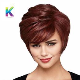10 дюймов женщины красиво мода мальчик сократить пикси парики для женщин прямой стиль синтетический коричневый вино красный парик с челкой от
