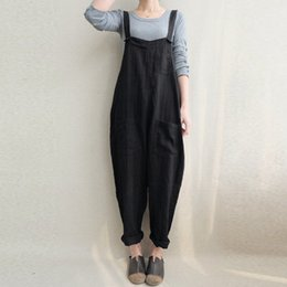 5b258899cafb 2018 Summer ZANZEA Women Rompers Strappy Pockets Cotton Linen Long Jumpsuits  Casual Solid Dungarees Loose Bib Overalls Plus Size Y1891807