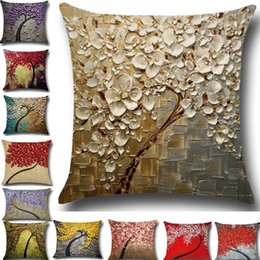 Wholesale 3d linens - Tree Of Life Flower Pillow Case Cushion Cover Linen Cotton Throw 3D Sofa Bed Pillow Covers Christams Home Decorative HH7-1281