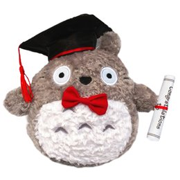 Wholesale graduation plush toys - 1pcs 20cm Plush Doctor Dr .Totoro Learn To Read Totoro Hat Plush Toy Doll Graduation Gift Plush Doctorial Hat Totoro With Bow