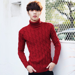 Wholesale Korean Sweater Warm - Men Thicken Wool Autumn Winter Knitted Turtleneck Red Sweater Pullovers Jumper Jersey Hombre Warm Fashion Korean Male Clothing