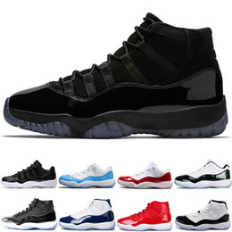 Wholesale mens cap sizes - 2018 New Designer Mens 11 11s Basketball Shoes Cap and Gown Gym Red Bred Concord 45 Legend Blue Womens Sports Sneakers size 36-47