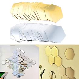 2019 tuiles de son 12 Pcs 3D Hexagone Acrylique Miroir Stickers Muraux DIY Art Décoration Murale Stickers Home Decor Salon en Miroir Décoratif Autocollant