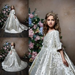 pentelei dresses Coupons - Pentelei 2019 Cute Flower Girl Dresses Satin Ball Gown Beads Jewel Applique Bow Train Half Sleeves Floor Length Formal Pageant Party Wear
