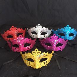 Wholesale Glitter Masquerade Masks - Multi Colors Masks Masquerade Mardi Gras Props For Women Twinkle Star Glitter Sequins Half Face Mask Fashion 0 65dl B